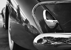 Not Dead Yet (~ Liberty Images) Tags: blackandwhite bw reflection monochrome classiccar chrome taillight brightwork libertyimages