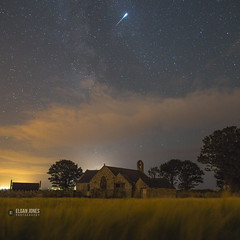 Perseids Fireball at St. Baglans Church (elganjones1) Tags: church clouds canon star jones long exposure nightscape astro astrophotography shooting 24mm fireball meteor 6d perseids samyang rokinon elgan stbaglans