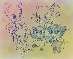 Excited for Poink! (Fiatan) Tags: pig doll drawing bjd poink charlescreaturecabinet artbyaa
