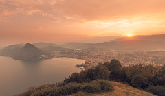 Lugano, Monte Bre (Bunaro) Tags: city sunset sun mountain alps clouds landscape restaurant switzerland cityscape dusk top bre monte lugano vetta yokfeed
