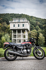 1986 Kawasaki KZ750 (Jan Moons) Tags: building tower classic abandoned nature bike architecture nikon belgium ardennen motorcycle bikeride nikkor touring kawasaki goodtimes racer youngtimer motorrit ardens 2485mm kz750 nikond600