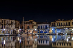 ... (Theophilos) Tags: sea reflection night harbor crete venetian rethymno