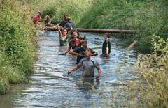 thumbs up, waist deep (stevefge) Tags: girls people water netherlands sport mud nederland event viking endurance nederlandvandaag strongviking
