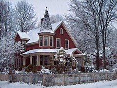 The Red Victorian (joyolsonnichols) Tags: old windows roof winter usa house snow cold building classic home nature beautiful beauty architecture america fence landscape town scenery place branches maine victorian newengland structure historic porch siding residence wonderland decor residential tranquil homedecor smalltown nichols oldfashioned snowcovered snowytrees artisticphotography picketfence manipulatedphotography theredvictorian joynichols joynicholsartworkandphotography joynicholsartistwebsitescom