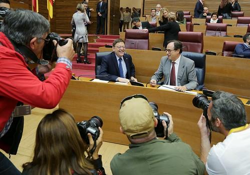 El President de la Generalitat, Ximo Puig, asiste al debate de los Presupuestos de la Generalitat para 2016. Les Corts, 18/11/2015.