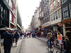 Damstraat, Amsterdam, July 2015 (milov) Tags: road street people amsterdam phonecam traffic sunny tourists bicycles busy touristy crowdy