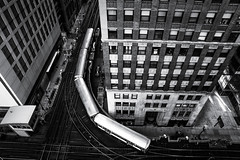 """The L from Above"" (Matt Shiffler Photography) Tags: blackandwhite bw chicago illinois elevated thel"