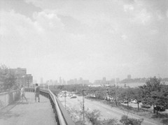 More Instant-Old. Diana Mini on half-frame + black and white film. Toward the end of the High Line looking south at 12th Avenue, the Hudson River, and New Jersey (DannyOKC) Tags: lofi halfframe film 35mm blackandwhite bw monochrome homeprocessed bridge