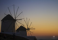 Windmills in Mykonos (thesayo) Tags: canon photography photo windmill sunset greece mykonos chora silhouette shadow light landscape sun sky wind canon400d art