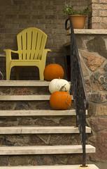 Three in a Row (rumimume) Tags: potd rumimume 2016 niagara ontario canada photo canon 550d t2i sigma orange pumpkin porch steps outdoor halloween fall autumn october