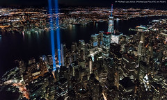 Aerial Tribute in Light - 9/11/16 (DSC09499-Edit-Edit-3) (Michael.Lee.Pics.NYC) Tags: newyork aerial helicopter flynyon tributeinlight 2016 911 onewtc worldtradecenter lowermanhattan hudsonriver architecture cityscape newjersey sony a7rm2 fe2470mmgm