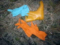 Left some rubber boot and Marigold gloves in a farmer`s field (camilla100) Tags: marigold rubber gloves viking boot old farmer field