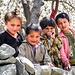 Kids in Karimabad with cherry flowers, Pakistan パキスタン、カリマバード 桜と子どもたち