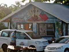 Samoa is Founded on God (and the Israeli flag) (mikecogh) Tags: apia samoa religion belief culture flags taxis mural crucifix cross