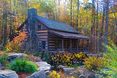 Dreaming of a Simpler Life (George McHenry Photography) Tags: cabin cottage architecture log beams autumn november foliage