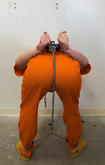 P1020147 (boblaly) Tags: prison prisoner padlock jumpsuit jail inmate uniform chain cuffed cuffs chained chains convict secure locked belly belt tubes handcuffs handcuffed detention restraints restrained arrested arrest shackled shackles