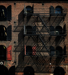 Van Brunt St., 11 (Tigra K) Tags: newyork unitedstates us 2016 architecture balcony color fence iphone lattice rhythm shadow stairs usa window pattern