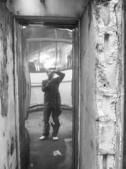 A Secret Door?-Side Lane-Canon S90 (Floy Chan) Tags: canons90 blackwhite backlane