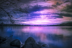 """ Sunset Dreiländersee "" (Kalbonsai) Tags: sunset dreiländersee üotdoorphotography nikon 1685mm d5100 naturshot waterscape clouds color germany stones stenen zonsondergang november 2016"