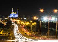Mosque 1 (Sameh.Ahdy) Tags: mosque masjed light lightpainting night yellow blue cityscape architecture street longexposure nightphotography oman muscat sultanateoman