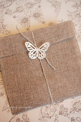 Burlap handmade wedding invitation - Partecipazione nozze handmade in iuta (CartaForbiciGatto) Tags: burlap handmade wedding invitation partecipazione nozze iuta butterfly farfalla country rustic rustica chic lovebirds love birds shabby
