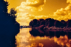 Fujicolor press 800 (7) (D A Willetts) Tags: iso800 iso25 red redscale fujifilm fujicolor fujicolour homemade outofdate outdated river riversevern water waterways sun sunlight summer 2016 worcester stourport