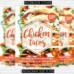 Chicken Tacos - Premium Flyer Template (ExclusiveFlyer) Tags: chicken tacos promo food festival plate fastfood cafe