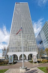 Mini Twin Tower with Mosaics (brev99) Tags: on1photoraw2017 ononesoftware newyorkpreset colorefex niksoftware luminar tokina1224dxii atx124afprodx minitwintower tulsa building skyscraper flag