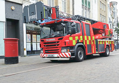 New Shiny Red Fire Engine. (ManOfYorkshire) Tags: truck fire south yorkshire engine turntable pump lorry postbox service ladder royalmail appliance metz scania doncaster firerescue p320 stsepulchregate yp15oof