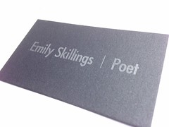Metallic poetry (artnoose) Tags: black ink silver paper emily business card poet custom letterpress calling onyx cardstock skillings stardream