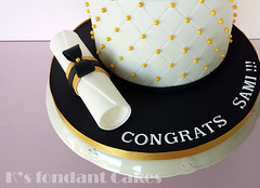 Graduation Cake (K's fondant Cakes) Tags: white black cake gold graduation pearls fondant