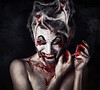The Joker Has a Sister (Spoken in Red) Tags: halloween insane eerie creepy horror insanity macabre devilish freakish devious frightening diabolical bloodymouth bloodyteeth thejoker creepywoman bloodyfingers horrorportrait halloweenportrait whitefacepaint bleedingwoman bloodybandages bloodyportrait spokeninred thejokerssister clownishmakeup