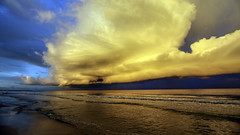 Gulf of Mexico Sunrise (mutrock) Tags: trees usa storm beach gulfofmexico water rain clouds sand gulf unitedstates florida thunderstorm fl stpetebeach stpetersburgbeach 2015