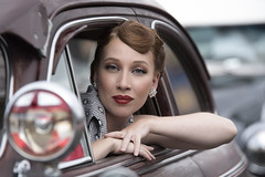 Lauren at the car show (Mitch Tillison Photography) Tags: newmexico beautiful vintage pose photography photo nikon bokeh gorgeous albuquerque naturallight depthoffield redhead attractive stunning d750 elegant coupe pinup carshow stylish tamron70200f28 mitchtillison bombardierscarclub