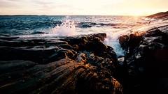 The horizon is an illusion. (Edgar Myller) Tags: sunset sea music rock stone high truth wind horizon wave iso illusion splash breeze universe visual splatter mindfuck porkkala