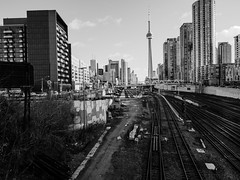 bathurst and front ((robcee)) Tags: city urban bw toronto ontario canada lines architecture buildings cityscape cntower tracks rails apx100 agfa leading geolocation leadinglines 2015 geo:state=ontario geo:country=canada geo:city=toronto camera:make=olympusimagingcorp exif:make=olympusimagingcorp exif:aperture=ƒ50 camera:model=em1 exif:model=em1 exif:lens=olympusm1240mmf28 exif:isospeed=200 exif:focallength=12mm geo:lat=43640594444445 geo:lon=79401294444445