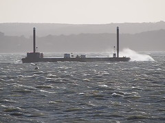 Rescue Training Barge in Solent (fstop186) Tags: sea coastguard rescue storm rain training wind military windy solent tug emergency barge services choppy
