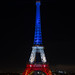 The Eiffel Tower lit in blue white red