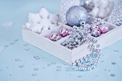 blue christmas gifts and decoration (♥Oxygen♥) Tags: christmas new xmas blue holiday blur color detail beautiful closeup bulb modern silver ball matt festive season star beads shiny bright symbol box metallic decorative traditional year seasonal decoration wrap nobody sparkle celebration event ornament card sphere gift bow round present reflective ribbon tradition lying bauble celebrate occasion frosted adornment