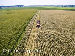 Bluestem Farm. (Remsberg Photos) Tags: tractor corn farming harvest aerial equipment machinery rows ag produce agriculture husks drone bluestemfarm