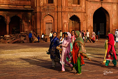 Womens in Jama Masjid (Riccardo Maria Mantero) Tags: families mantero riccardomantero riccardomariamantero colors delhi dresses family mosque people travel women