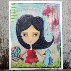 enchanted afternoon (JoMo (peaceofpi)) Tags: girl bird friendship illustration flowers outside artjournal painting bluebird mixed media acrylic pencil peaceofpi canada drawing art imaginary