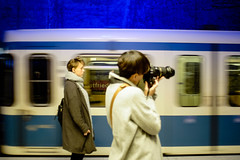 subway (Nomeasmo) Tags: blue underground street people fuji ubahn subway xt1 light