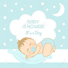 Baby Shower  It's a boy (photoschoppe) Tags: announcement art background banner birth birthday boy boyish card cartoon child clip decorative design drawing drawn flower greeting hand head illustration invitation isolated its lovely newborn pacifier pajamas pattern people place postcard poster promo quilt shower spot sticker store template toddler typography vector