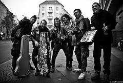 TripleX from Bogota (josefcramer.com) Tags: europe europa berlin germany punk neukoelln neuklln street rock bw black white urban flaneur brgersteig menschen people musik music josef cramer leica 24mm 24 elmarit asph m240 m xxx tres equis triple x triplex monochrome outdoor