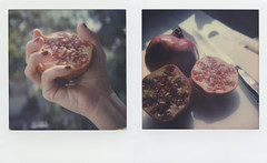 Pomegranates Diptych (LeandroF) Tags: color600 gen3 impossibleproject polaroidslr680 slr680 diptych polaroid polaroidweek2016 polaroidweek fall autumn pomegranates hand stilllife knife