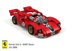 Ferrari 512 S - NART Racer s/n 1006 1970 (lego911) Tags: ferrari 512 s racer 1970 nart north american racing team 1970s classic v12 le mans auto car moc model miniland lego lego911 ldd render cad povray lugnuts challenge 108 lugnutsturnnine turns nine 18 attheraces races enzo foitsop 1006