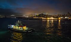 San Francisco Pre Dawn (the CAMera of ian CAMpbell; simple) Tags: san frnacisco sf tug francisco usa us america port skyline sunrise sun dawn city cityscape night light lights reflection bay bridge