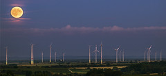 Moon (vinod kandrapu) Tags: moon sunset colors nature windmills landscape moonrse fullmoon