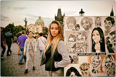 Caricature 7 Min. (Steve Lundqvist) Tags: prague praha praga carlo carl bridge ponte painting portraits portrait drawing draw girl street streetphotography 24mm nikon nikkor caricature urban czech republic cecoslovacchia